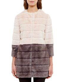 Ted Baker Onyaka Colour block faux fur coat