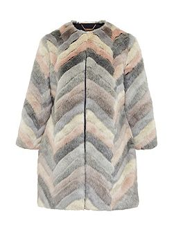 Reniaa Chevron faux fur coat