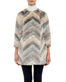 Ted Baker Reniaa Chevron faux fur coat
