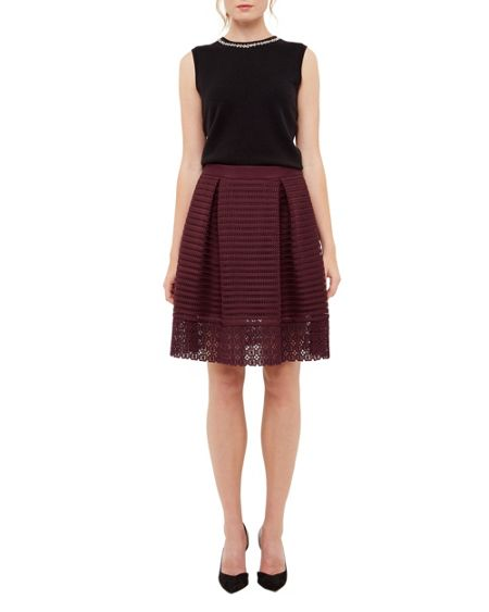 Ted Baker Lotee Sheer Panel Midi Skirt