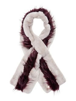 Eviee Striped faux fur scarf