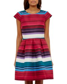 Ted Baker Rozah Striped pleated dress