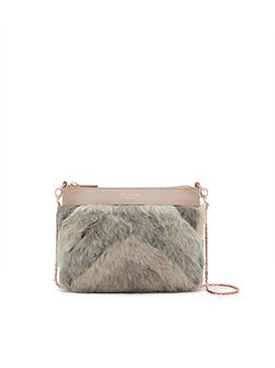 Emmia Shearling and leather cross body bag
