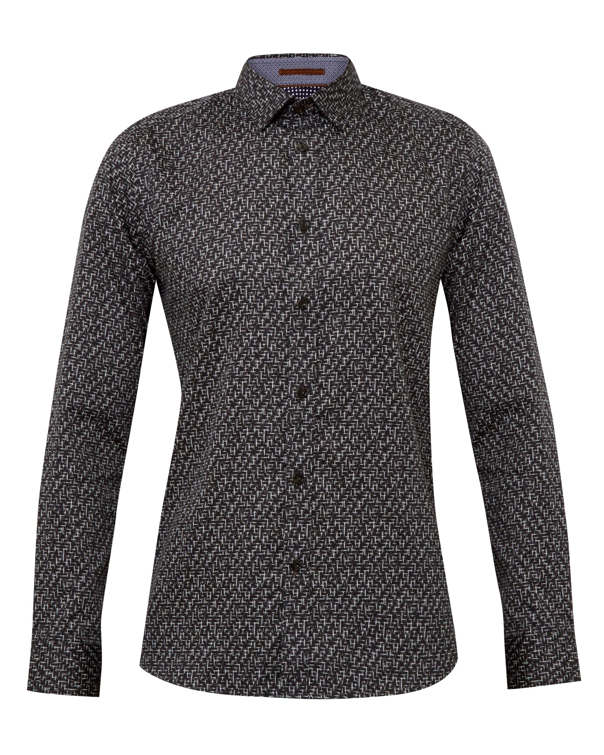 Mens Ted Baker Squigle Squiggle Design Cotton Shirt Black