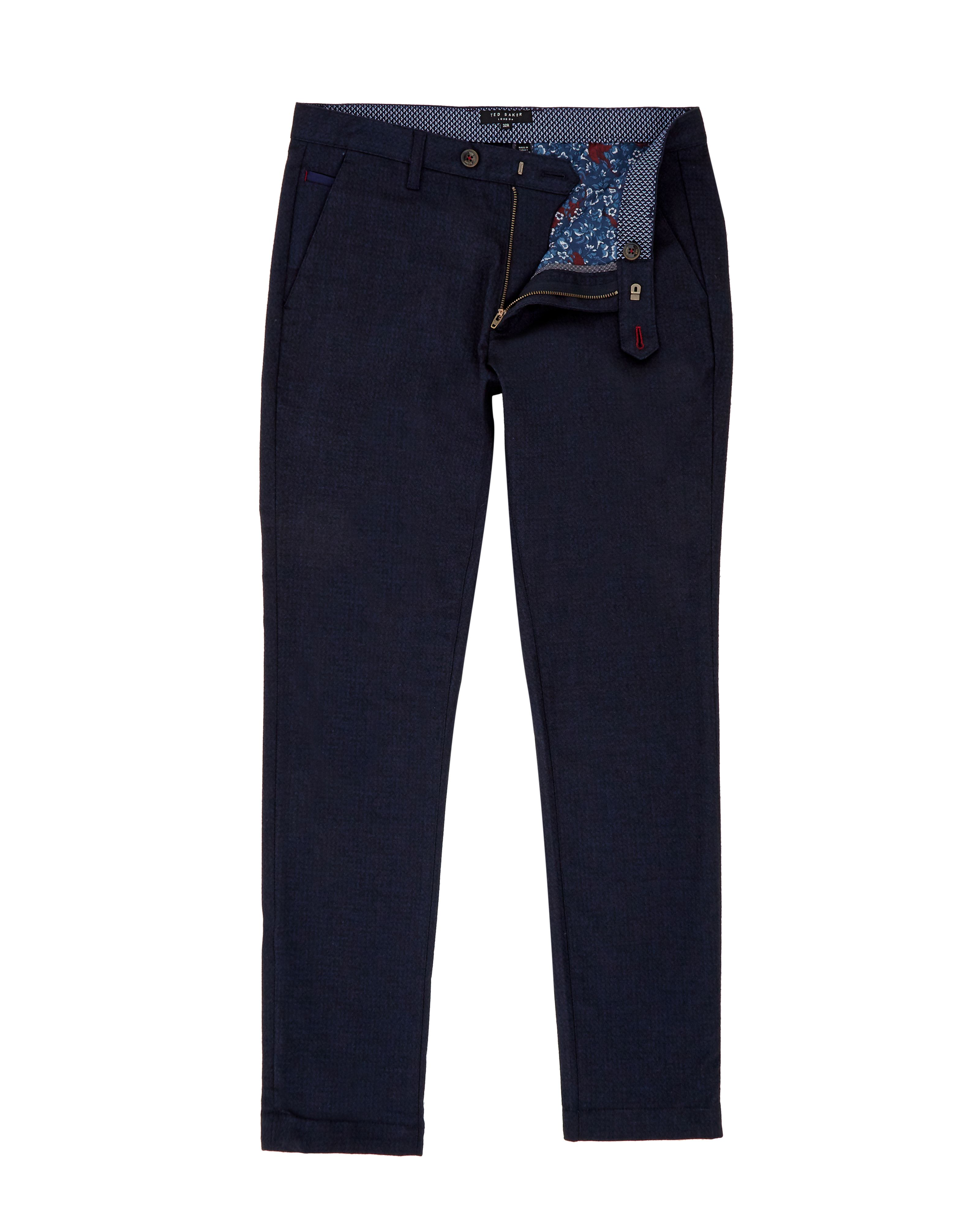 Mens Ted Baker Manners Slim Fit Mini Design Trousers Navy