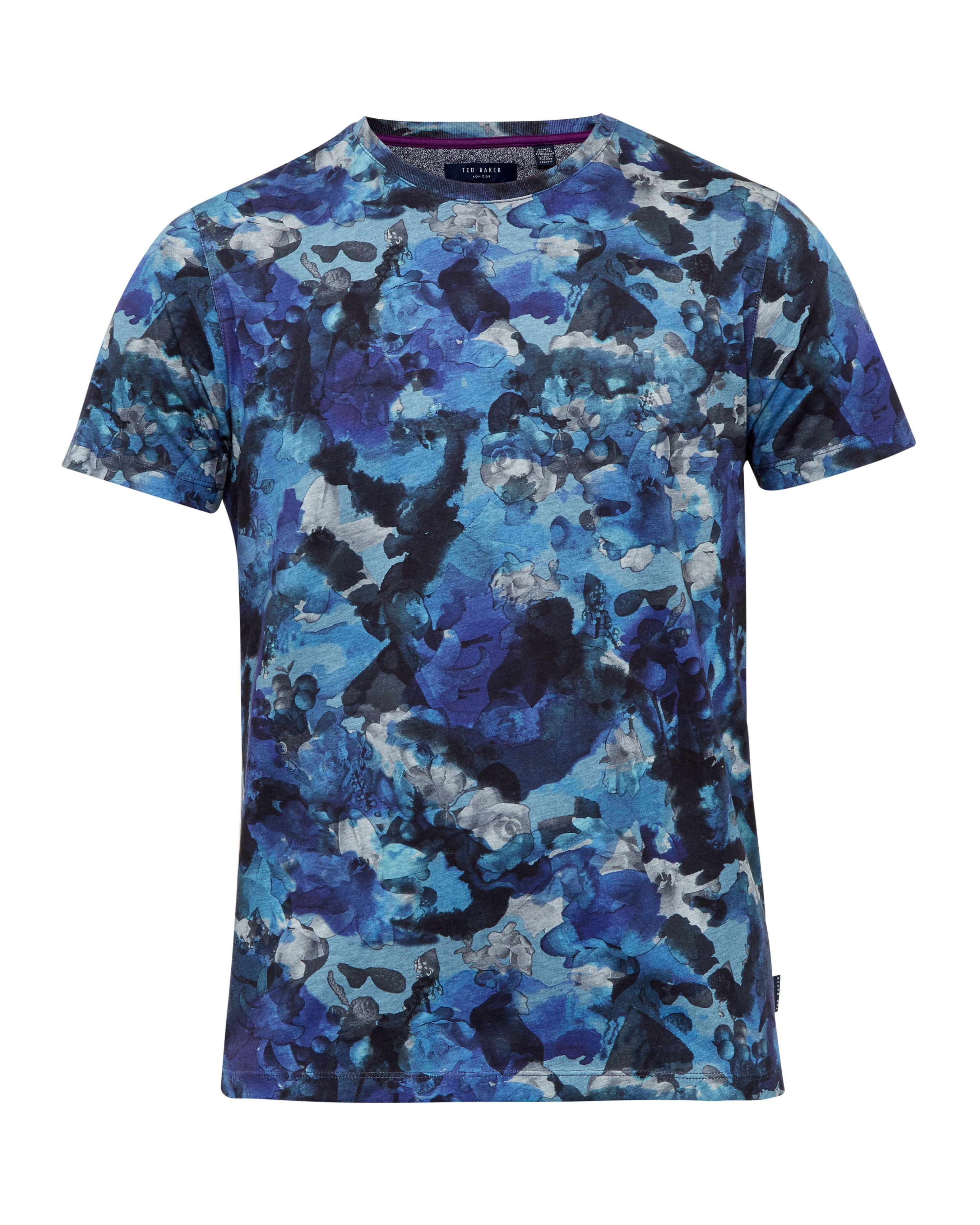 Mens Ted Baker Ruben Camouflage Cotton TShirt Blue