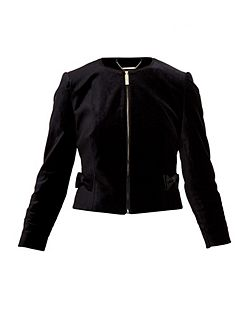 Mifna Cropped velvet bow jacket