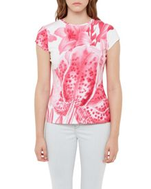 Ted Baker Keleen Encyclopaedia Floral Fitted T-Shirt