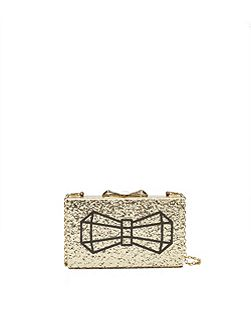 Bowwe Bow glitter clutch bag