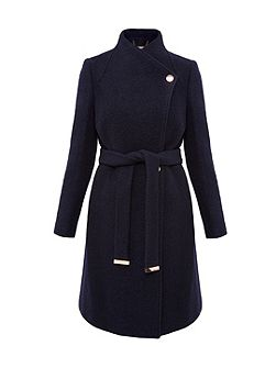Safiera Textured Long Wrap Coat