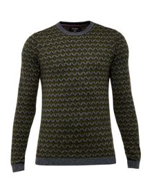 Ted Baker Vince Geo Design Crew Neck Jumper