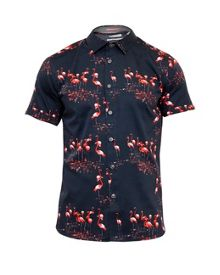 Ted Baker Flaming Flamingo Print Cotton Shirt