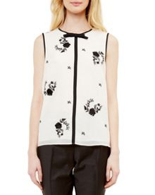 Ted Baker Soo Contrast Rose Embroidered Top