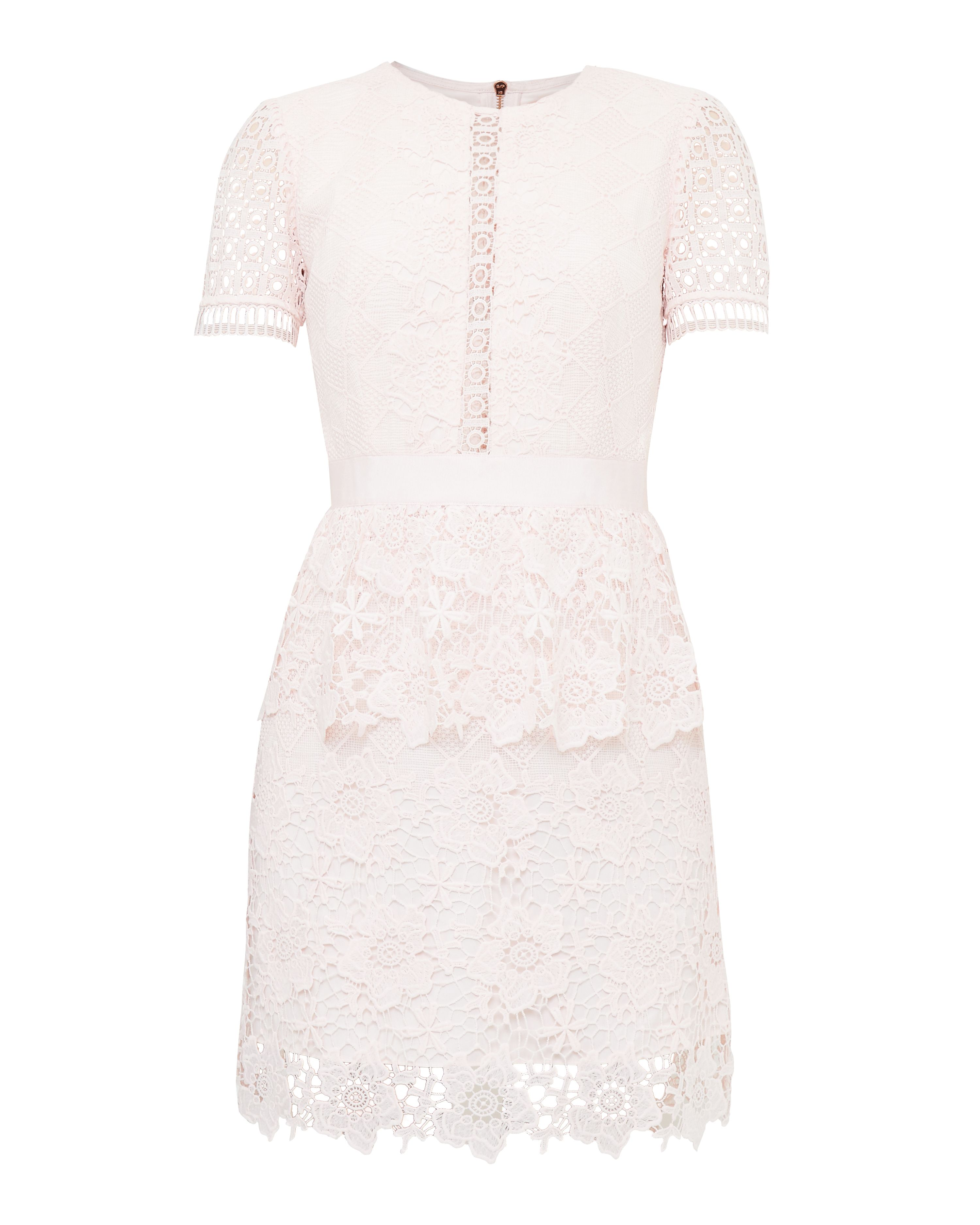 Ted Baker Dixa Layered Lace Skater Dress, Pastel Pink