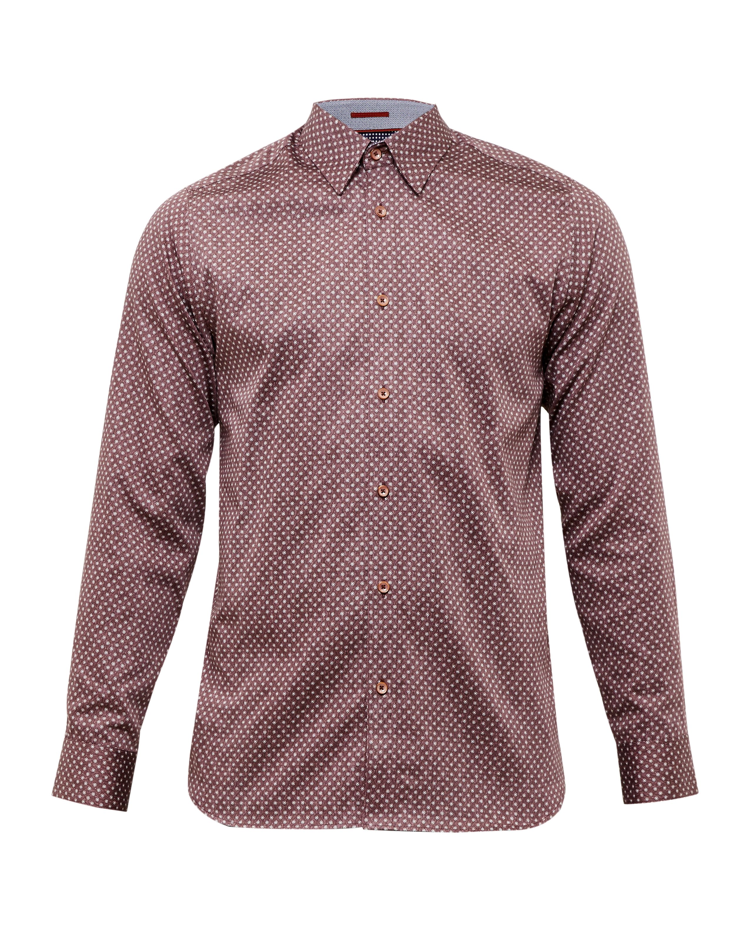Mens Ted Baker Teoface Geo Print Cotton Shirt Red