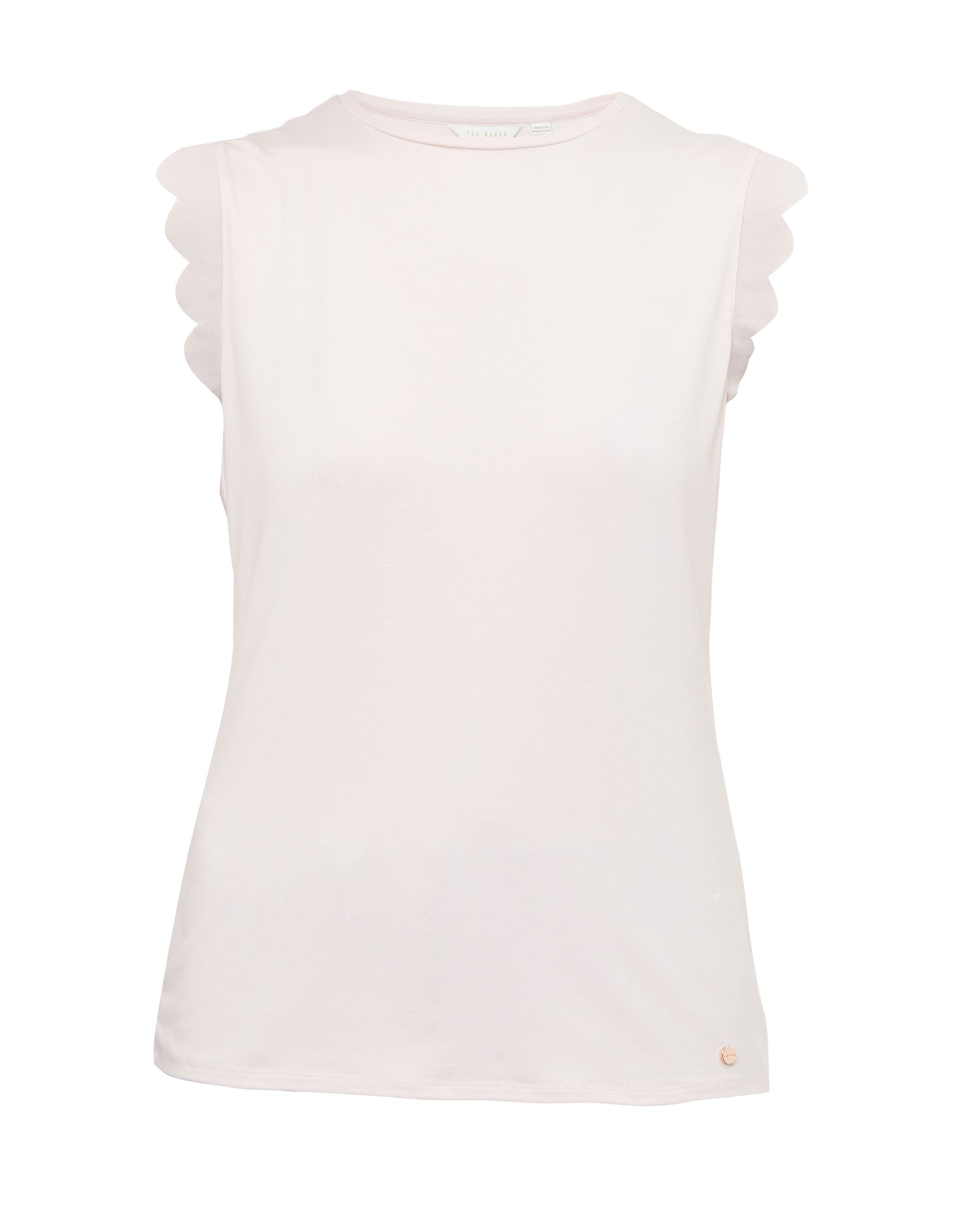 Ted Baker Elliah Scallop Detail Fitted T-Shirt, Pastel Pink