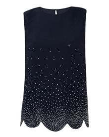 Ted Baker Wyndy Sparkle scallop hem top