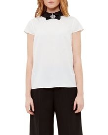 Ted Baker Bayleta Embellished Bow Collared Top
