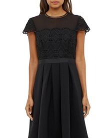 Ted Baker Frizay Lace Bodice Midi Dress