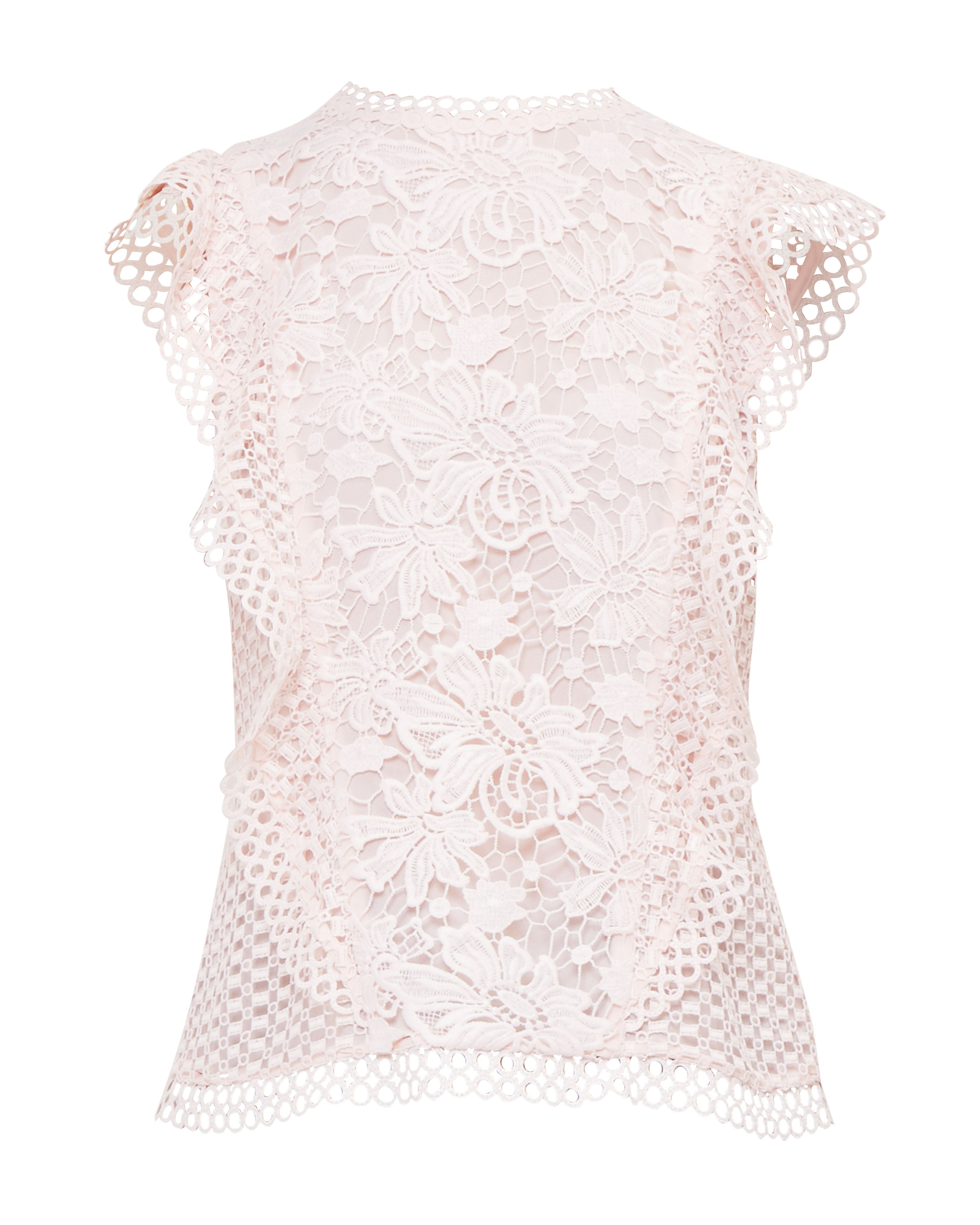 Ted Baker Zania Ruffle Lace Top, Pink