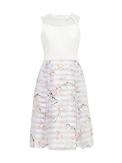Monah Oriental Blossom Mesh Detail Dress