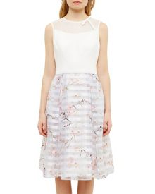 Ted Baker Monah Oriental Blossom Mesh Detail Dress