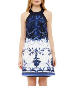 Ted Baker Molliat Persian Blue Halter Neck Tunic
