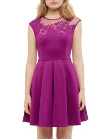 Ted Baker Dollii Embroidered pleated dress