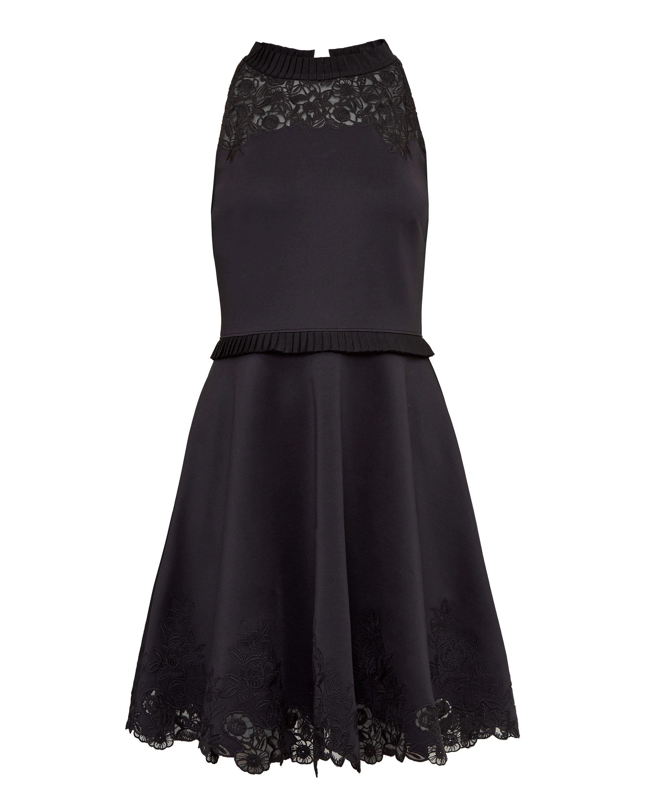 Ted Baker Zaffron Embroidered Ruffle Skater Dress, Black