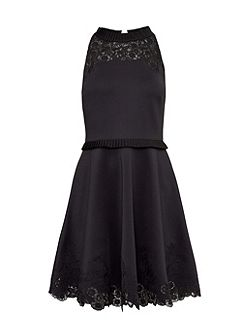 Zaffron Embroidered Ruffle Skater Dress