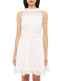 Ted Baker Zaffron Embroidered Ruffle Skater Dress