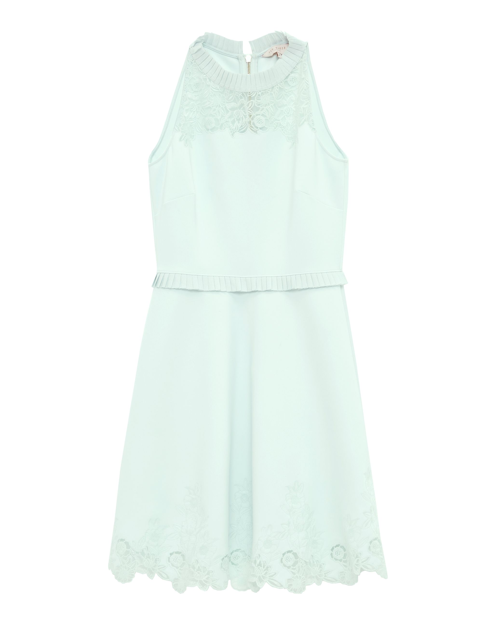 Ted Baker Zaffron Embroidered Ruffle Skater Dress Light Green