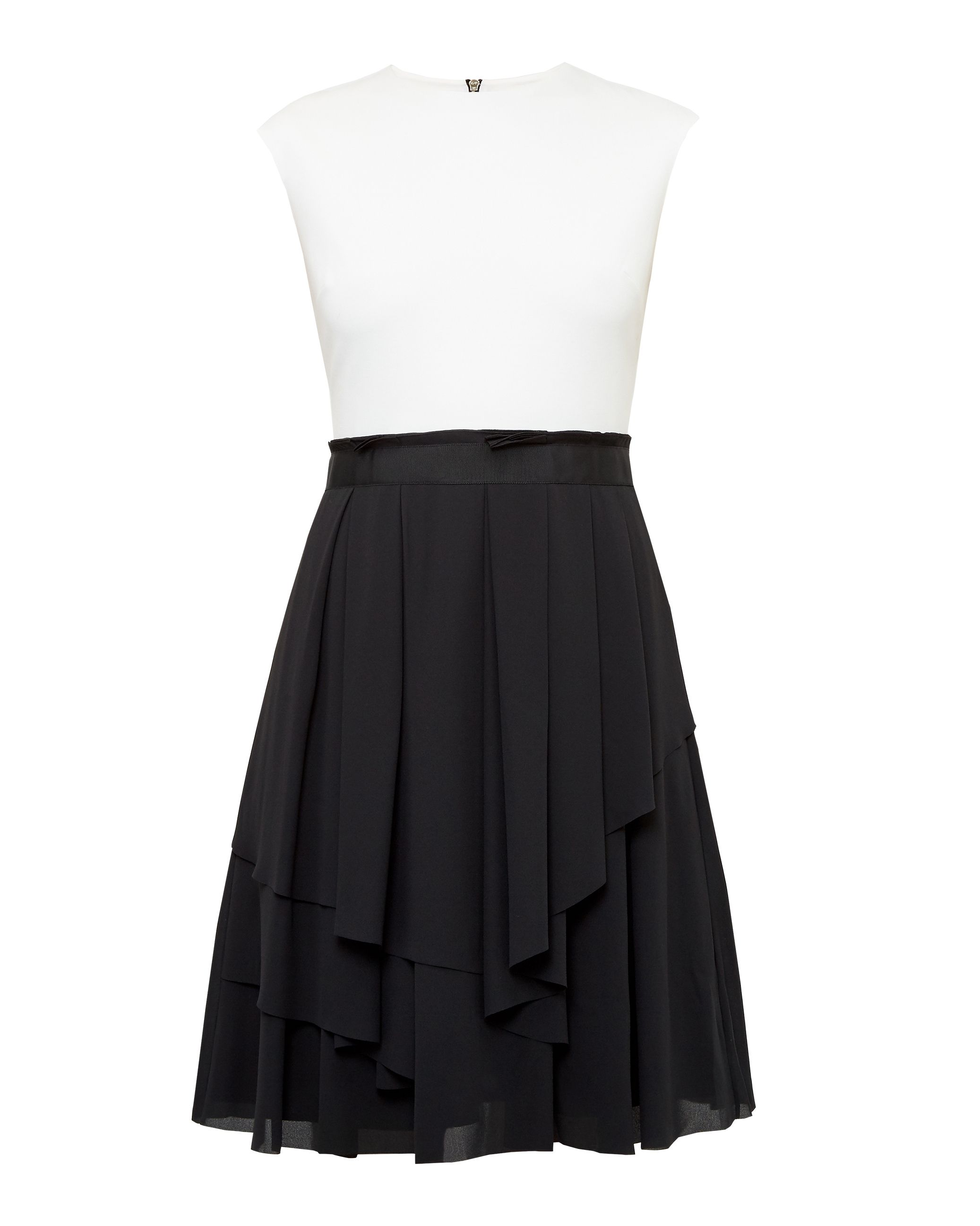 Ted Baker Saleito Ruffled twotone dress Black