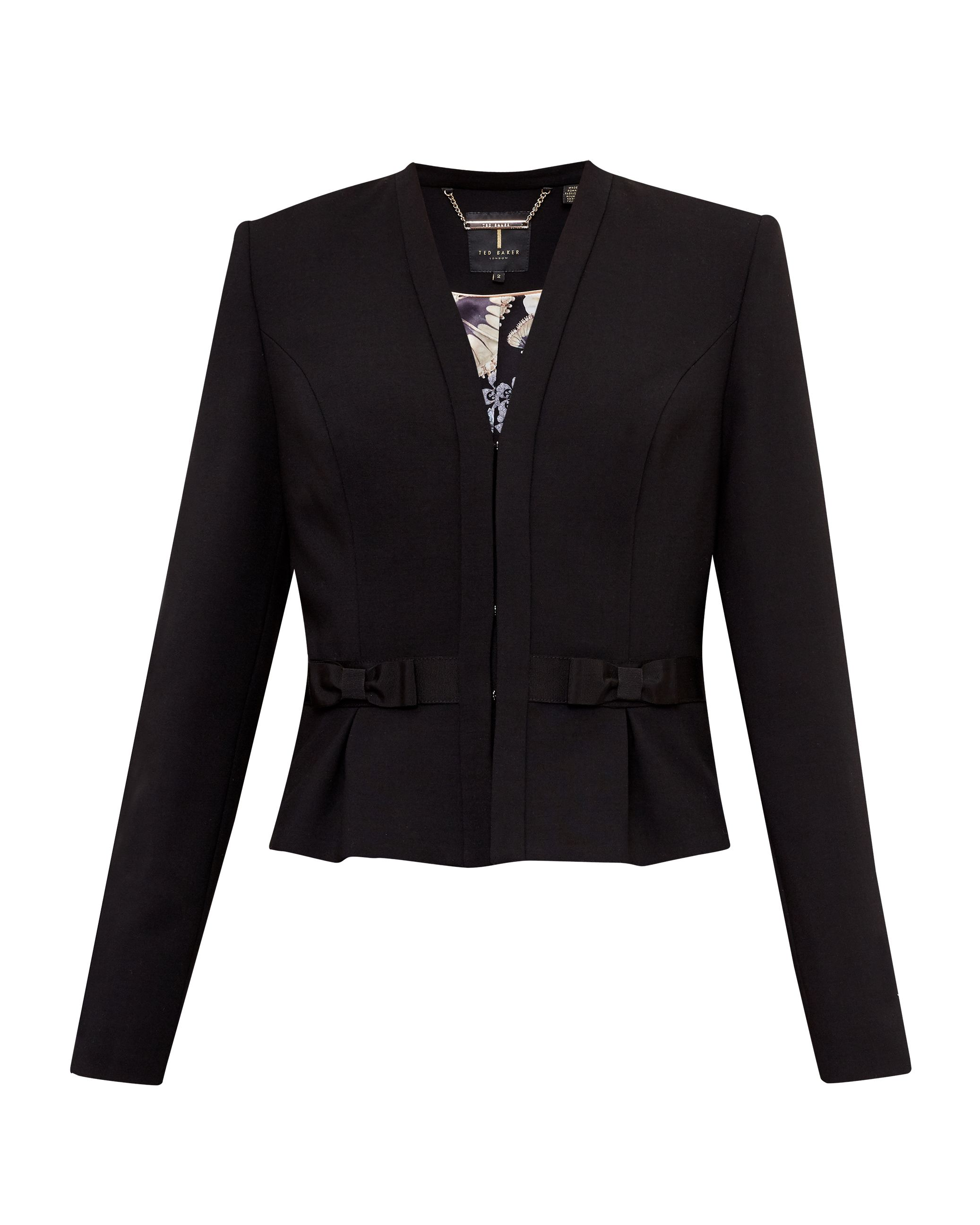 Ted Baker Zeeva Bow detail cropped suit jacket, Black