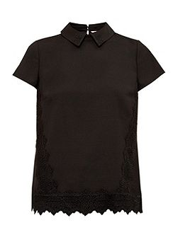 Marnee Collared lace detail top