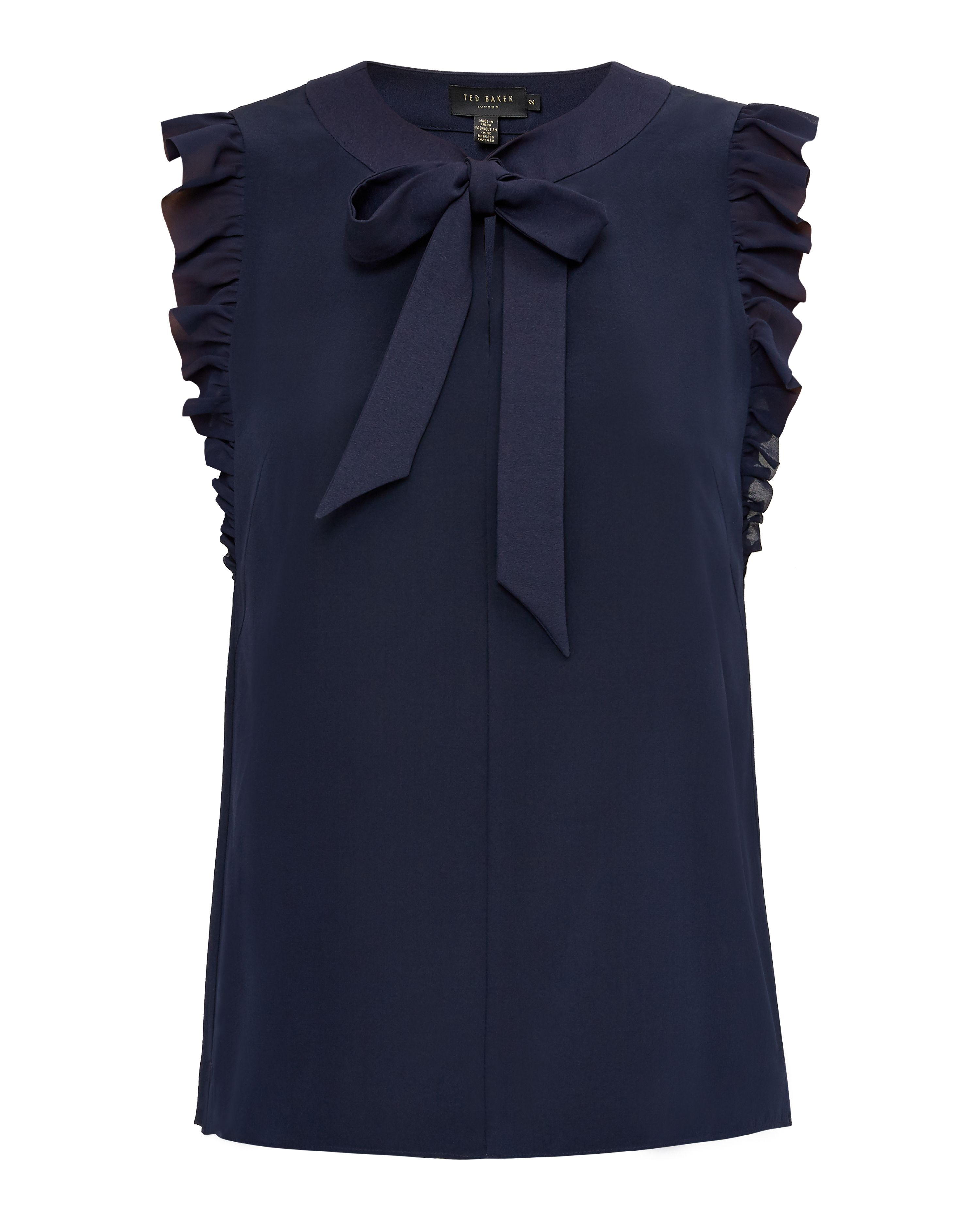 Ted Baker Eene Bow Tie Silk Frilled Top, Dark Blue