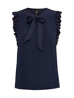 Eene Bow Tie Silk Frilled Top