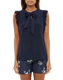 Ted Baker Eene Bow Tie Silk Frilled Top