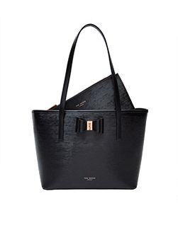 Claudia Bow Small Textured Leather Shopper Bag