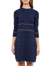 Ted Baker Coletie Scallop edged knitted tunic dress