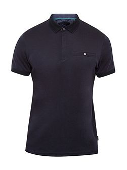 Charmen Flat Knit Collar Cotton Polo Shirt