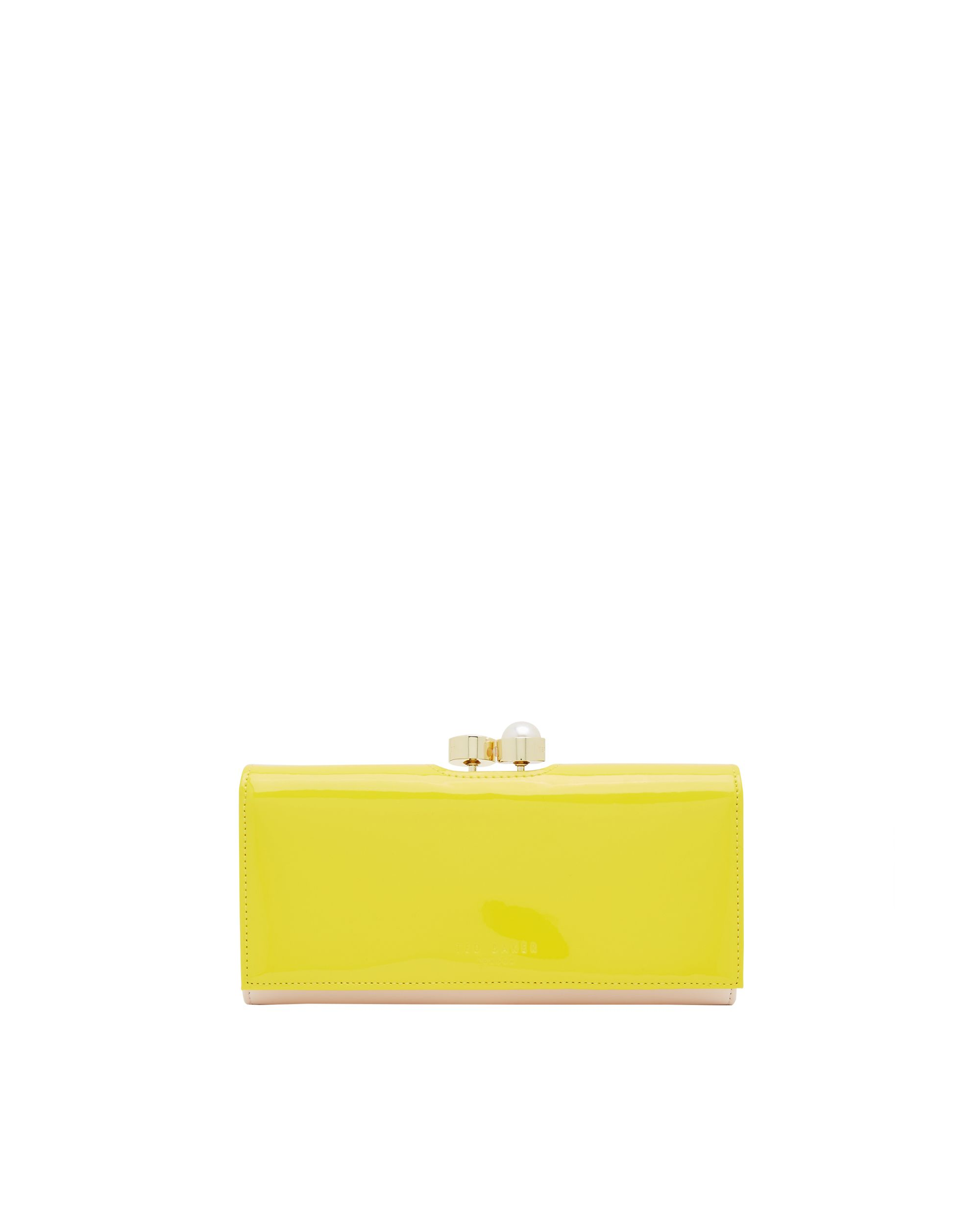 Ted Baker Cecilie Pearl and Crystal Bobble Leather Purse Yellow