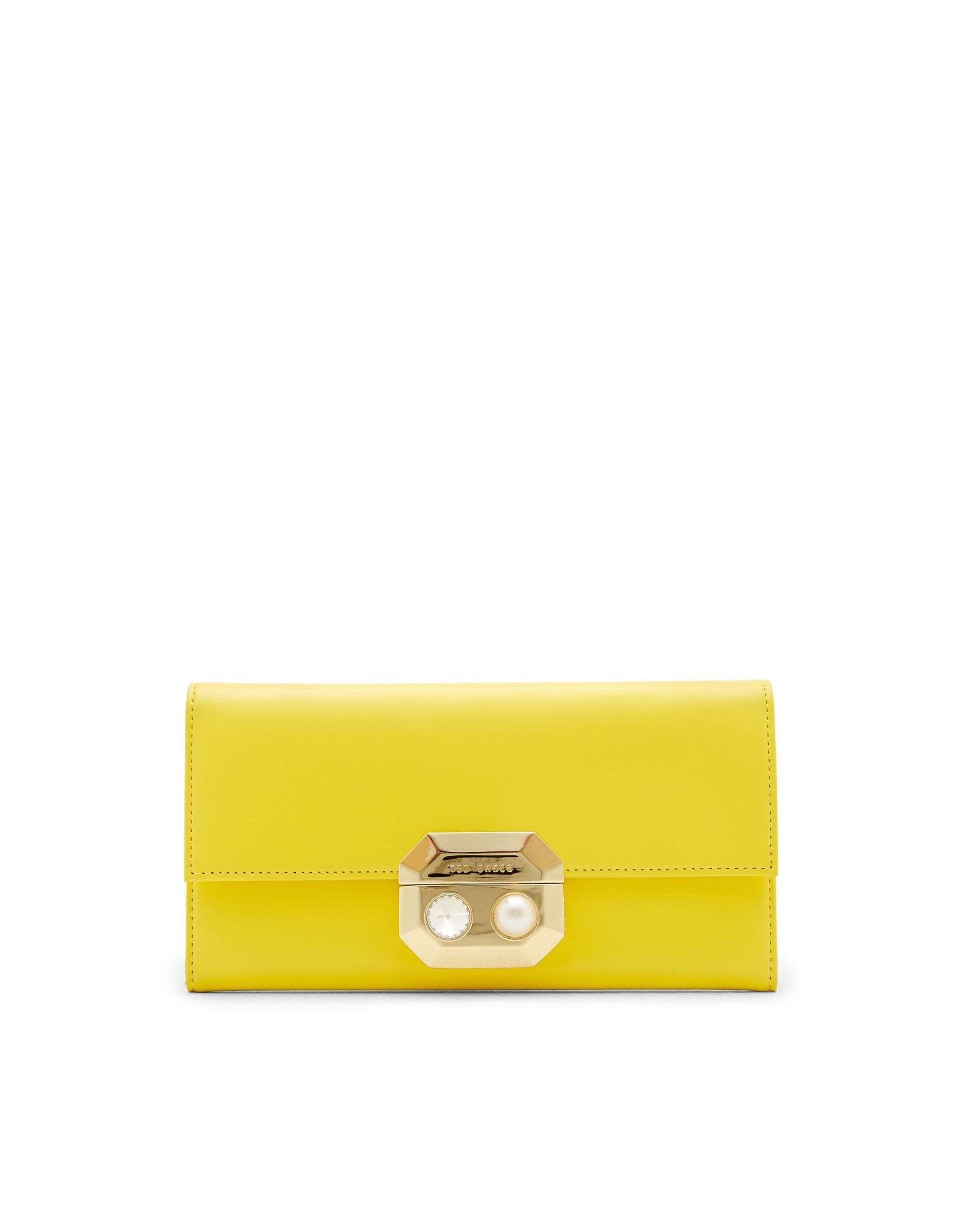 Ted Baker Pammy Pearl and Crystal Leather Purse Yellow