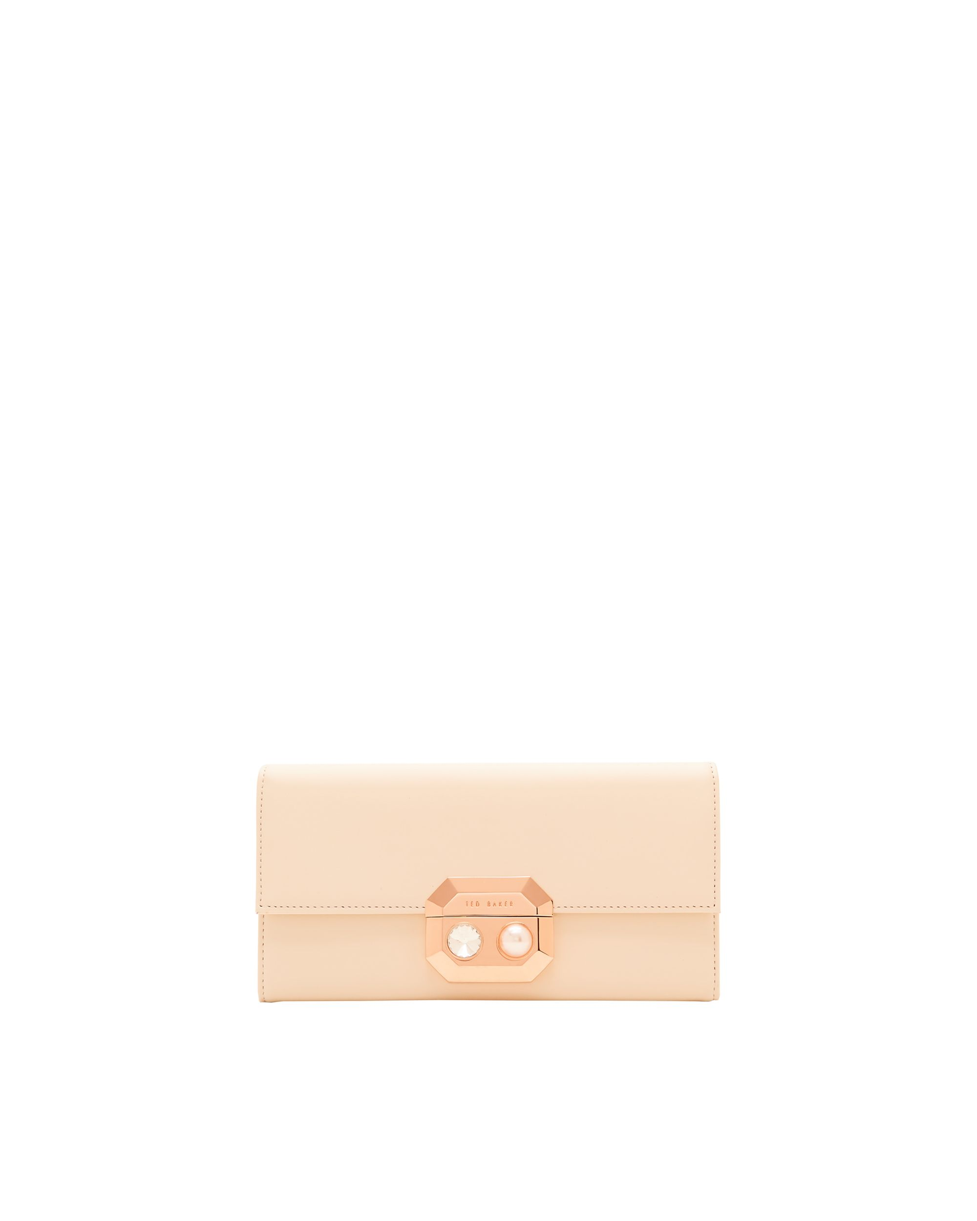 Ted Baker Pammy Pearl and Crystal Leather Purse Natural