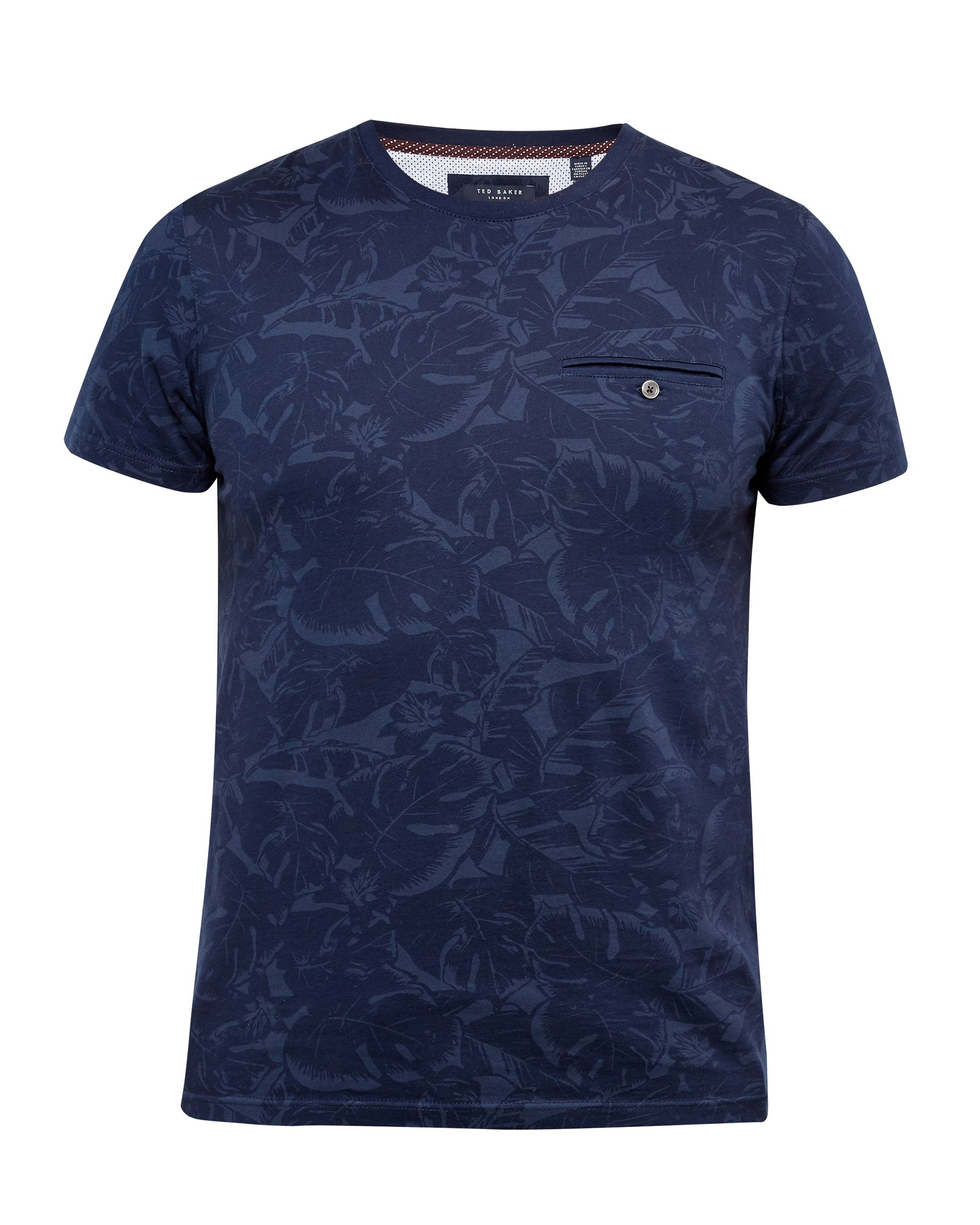 Mens Ted Baker Flowby Tonal Floral Tshirt Navy
