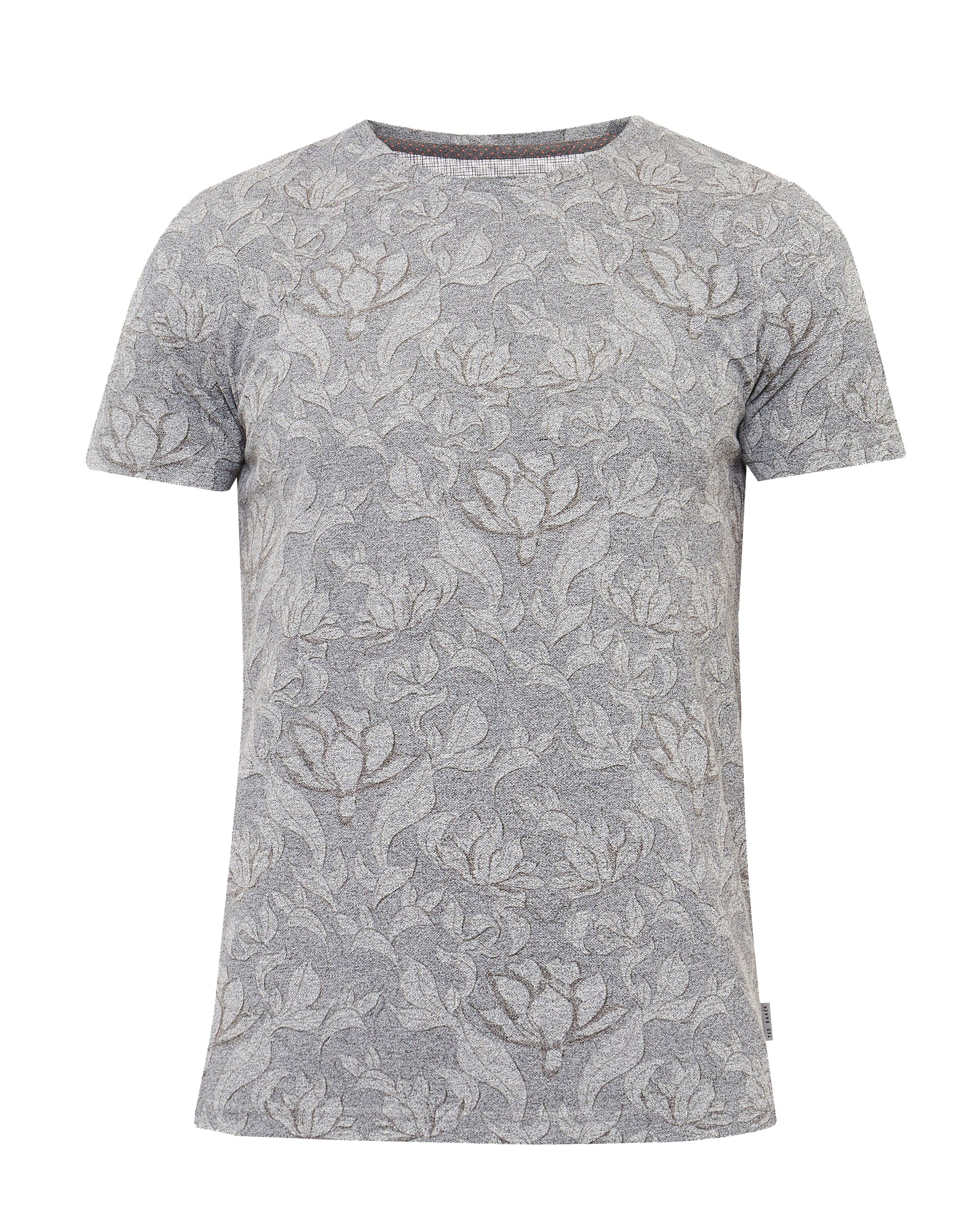 Mens Ted Baker Hapyval Floral Print Cotton Blend TShirt Grey