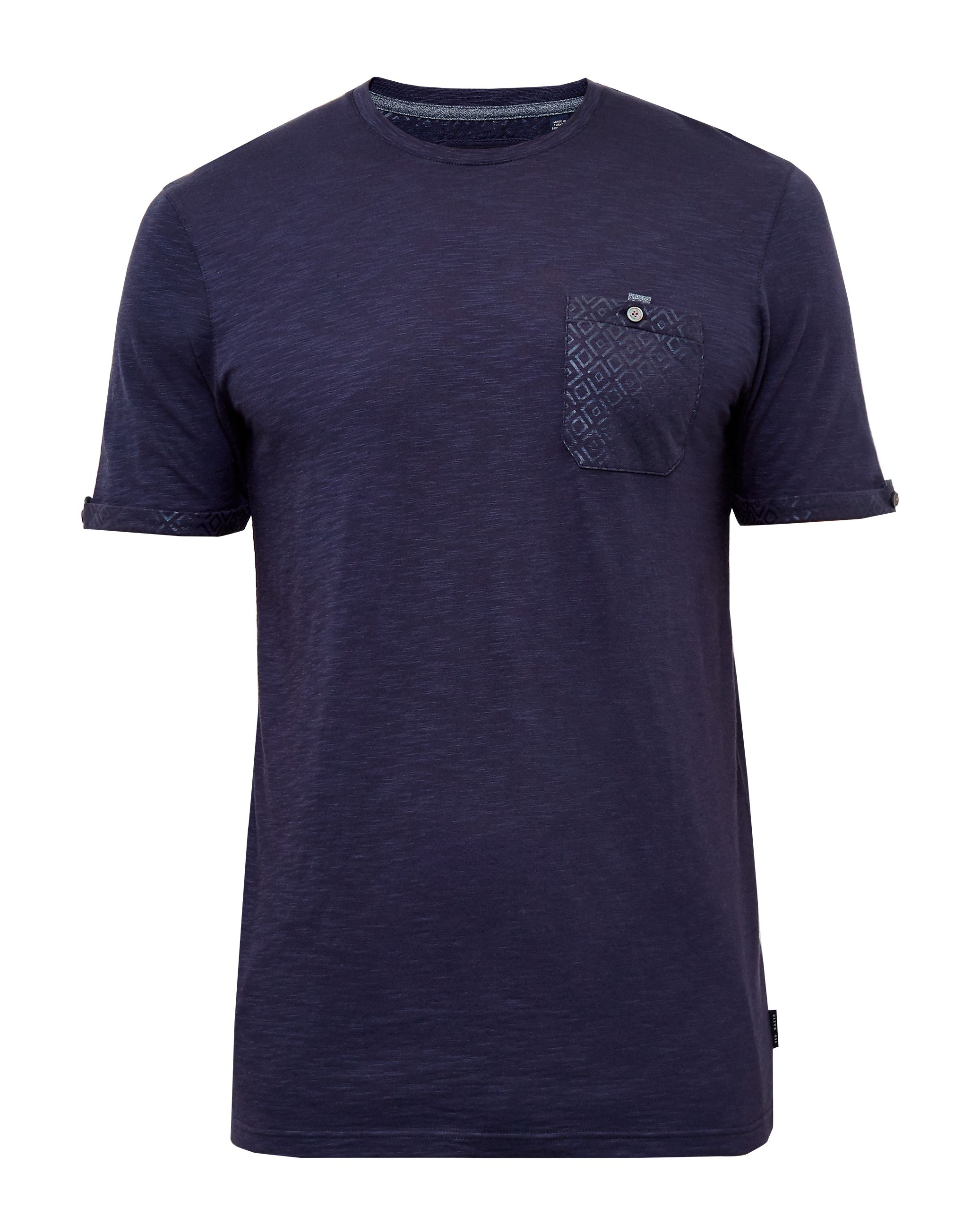 Mens Ted Baker Apel Printed Pocket TShirt Navy