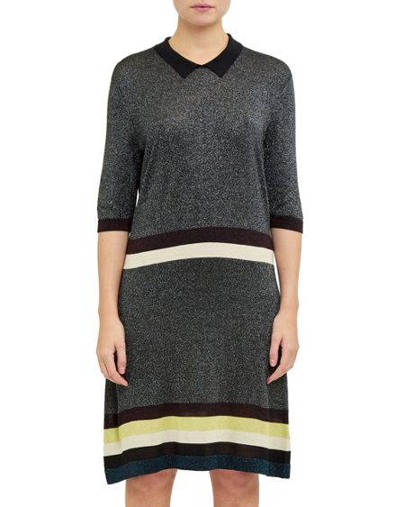 Ted Baker Bian Collared striped glitter dress