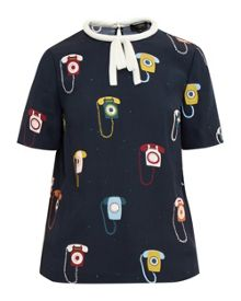 Ted Baker Sylvi Telephone print tie neck top