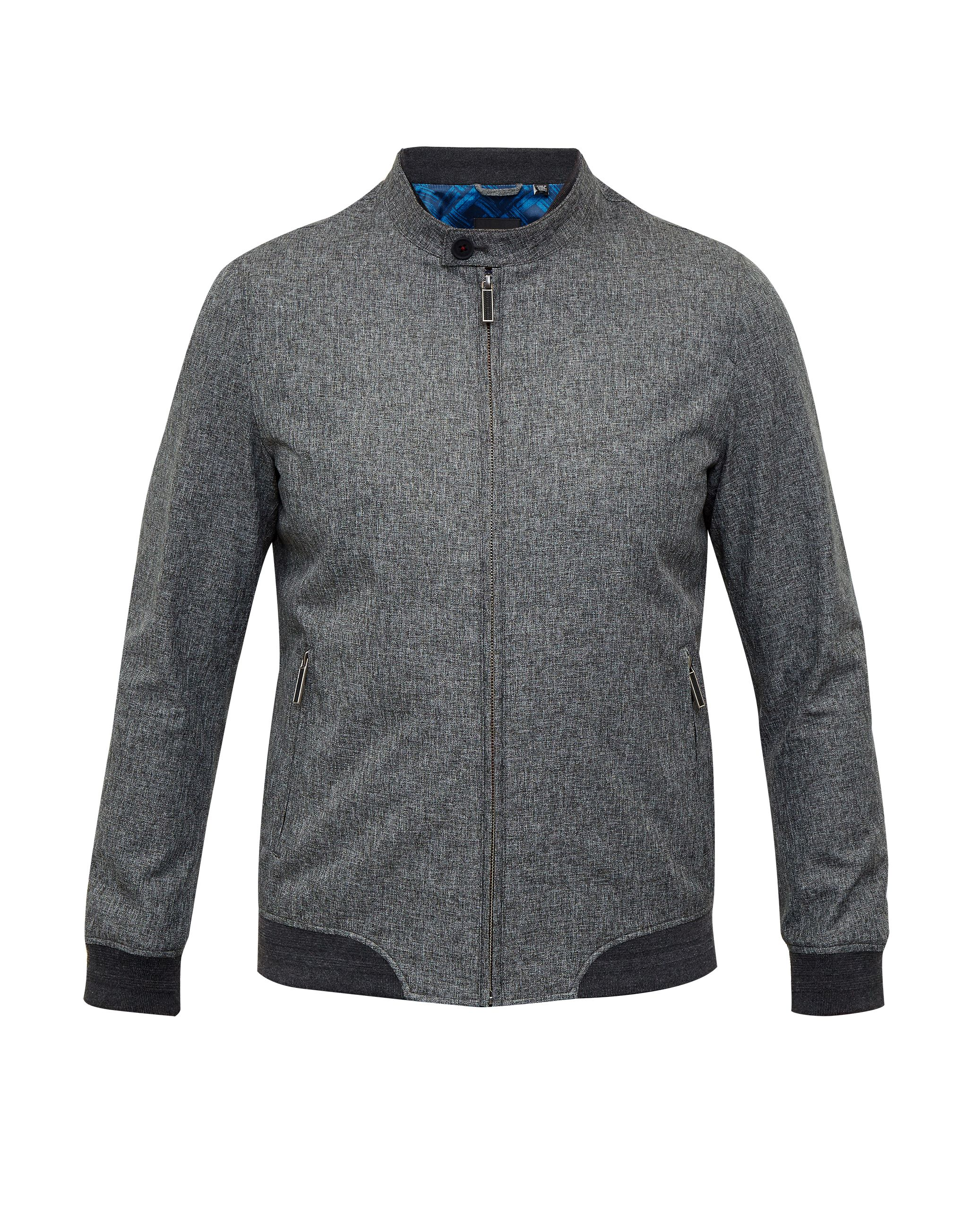 Mens Ted Baker Apollo Mouliné Bomber Jacket Grey
